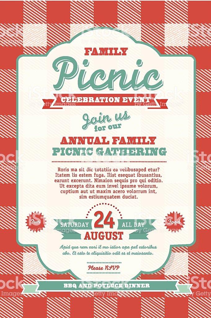 Bbq Tablecloth Picnic Invitation Design Template Stock