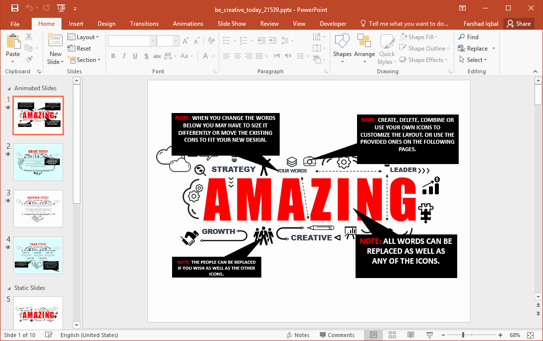 Be Creative today Powerpoint Template