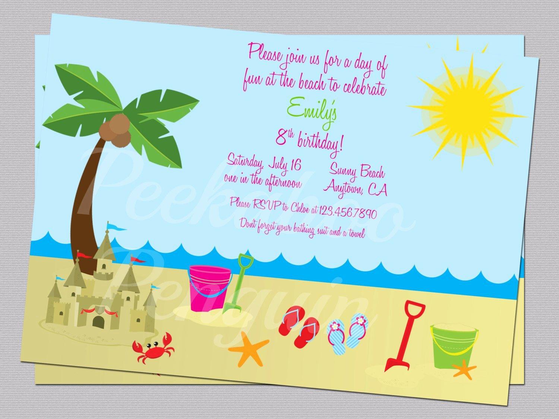 Beach Invitations Ocean Birthday Party Invites Kid S