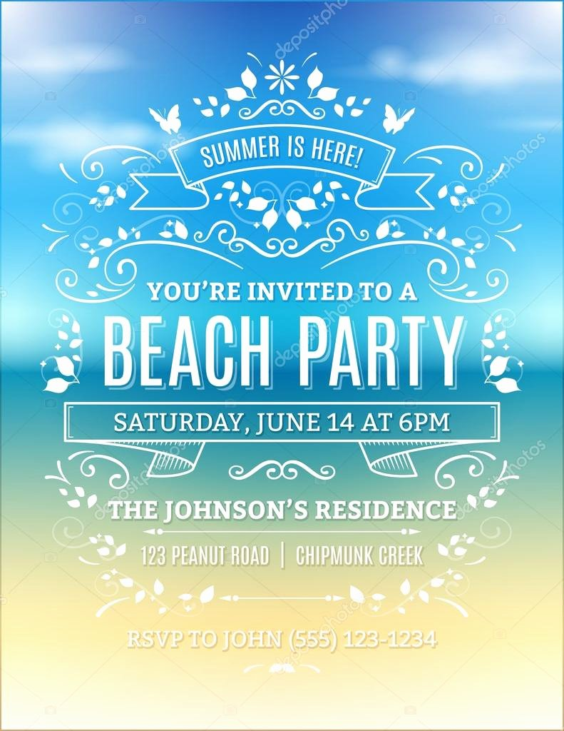 Beach Party Invitation — Stock Vector © Cajoer