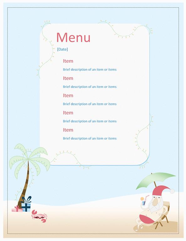 Beach Party Menu Template Microsoft Word Templates