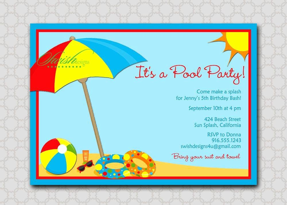 Beach theme Party Invitations