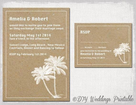 Beach Wedding Invitation & Rsvp Template