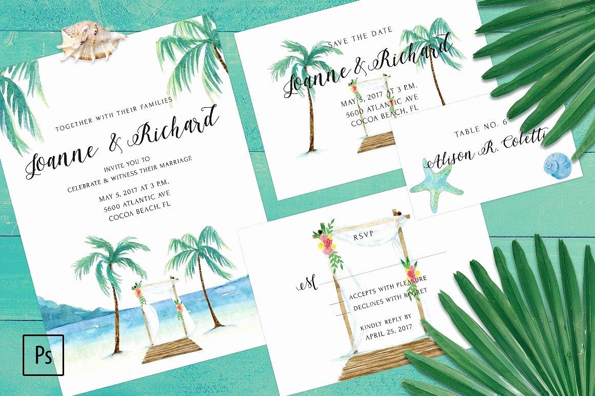 Beach Wedding Invitation Kit Invitation Templates