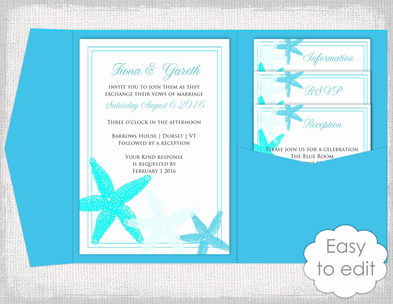Beach Wedding Invitation Pocket Template Diy Malibu Blue