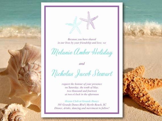 Beach Wedding Invitation Template Starfish Invitation