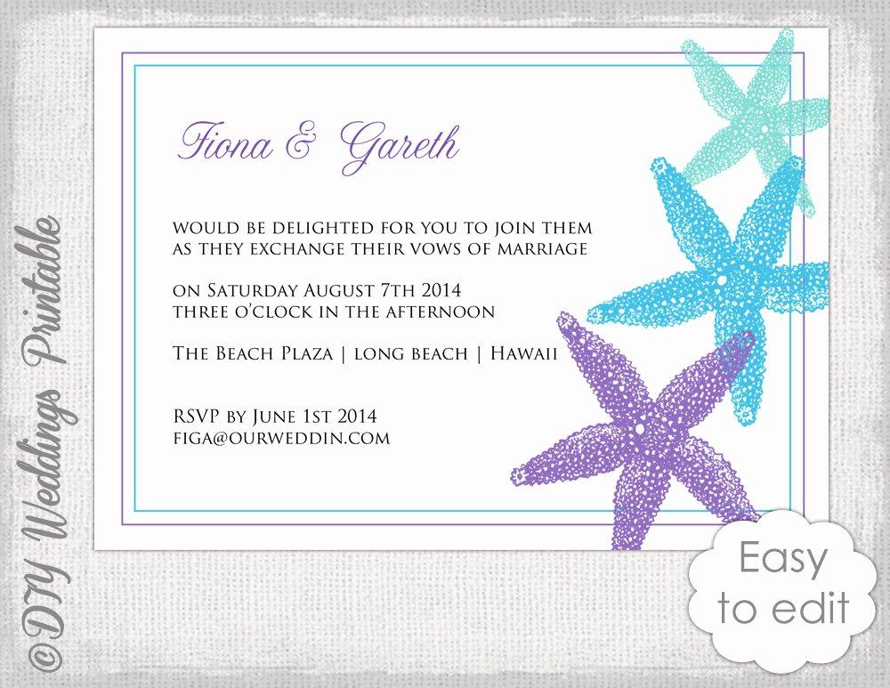 Beach Wedding Invitation Template Starfish