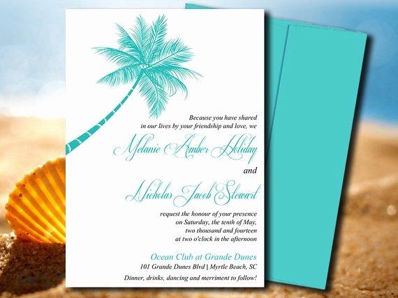 Beach Wedding Invite Microsoft Word Template Lazy Palm Blue