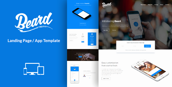 Beard App Landing Page HTML Template by Lumberjacks
