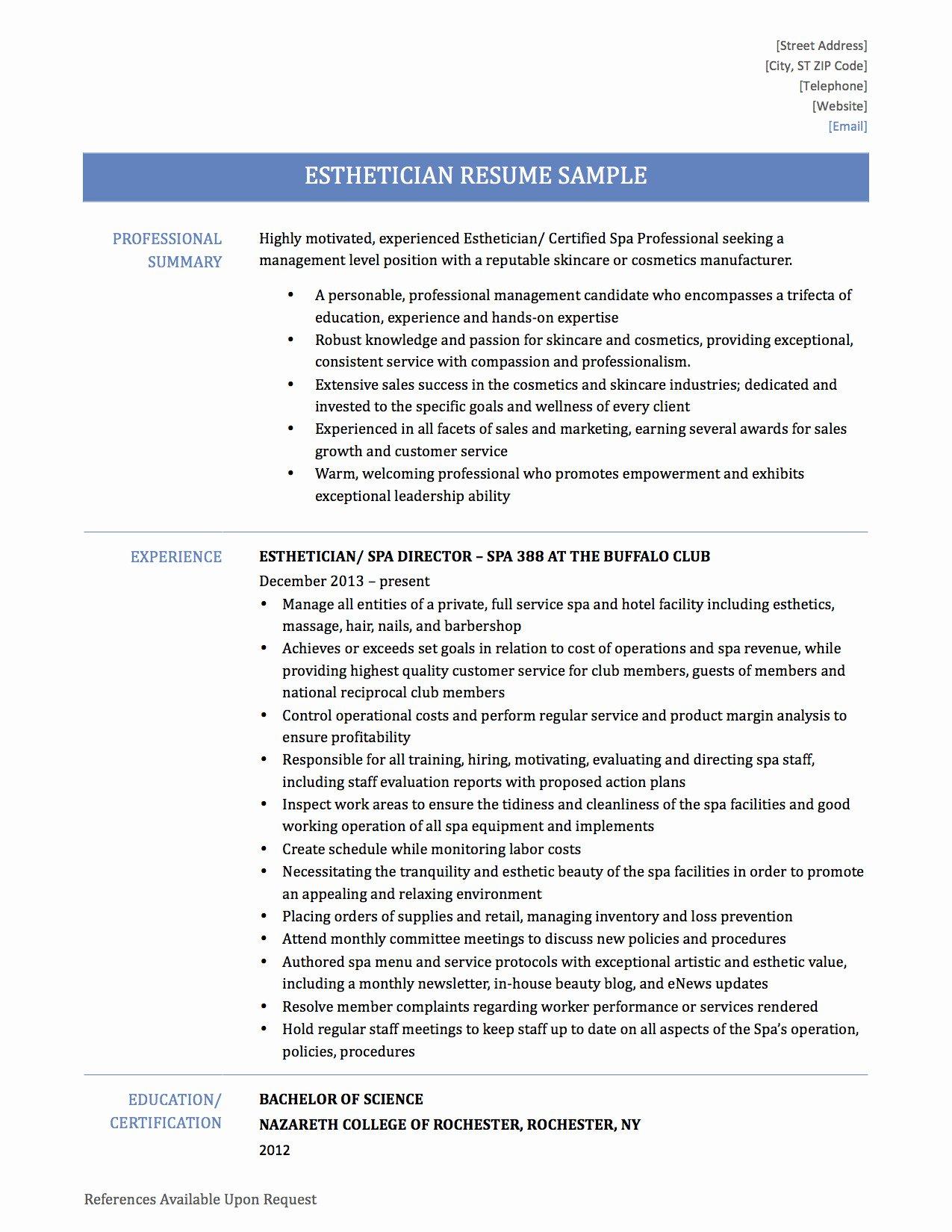 Beaufiful Esthetician Resume No Experience S Resume