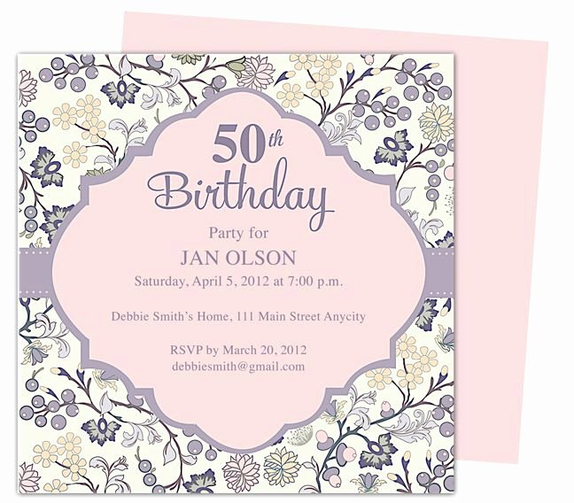 Beautiful and Elegant 50th Birthday Party Invitations