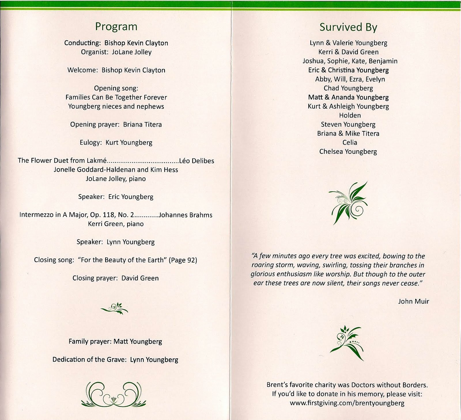 Beautiful Free Printable Funeral Program Template