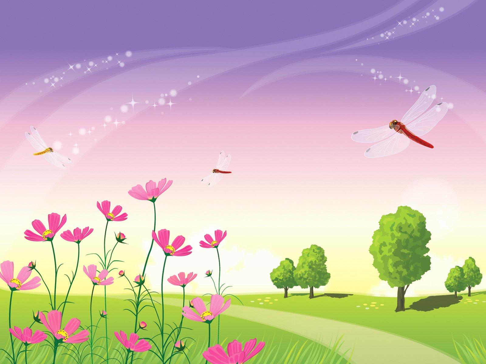 Beautiful Nature Scene Powerpoint Templates Fuchsia