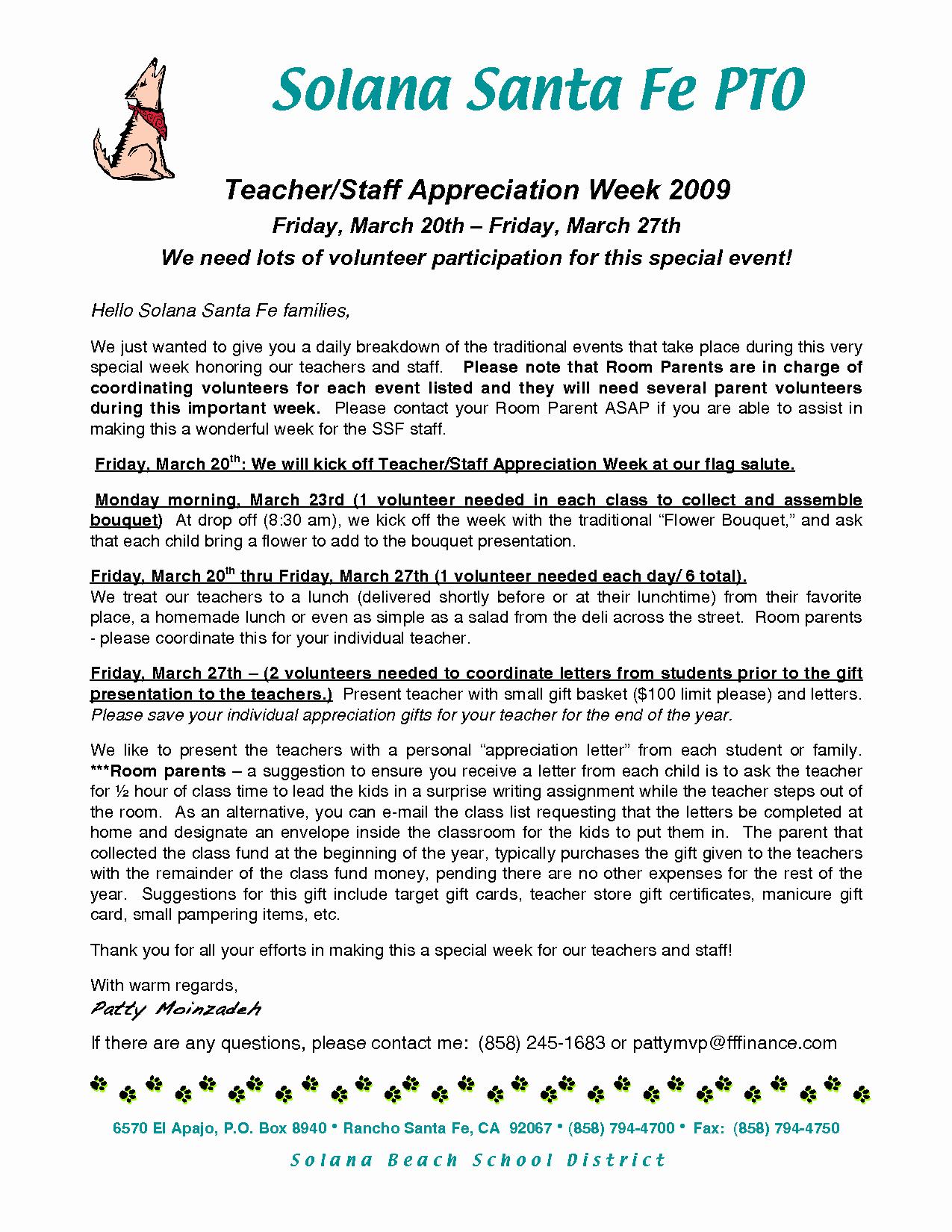 Beautiful Teacher Appreciation Letter Sample