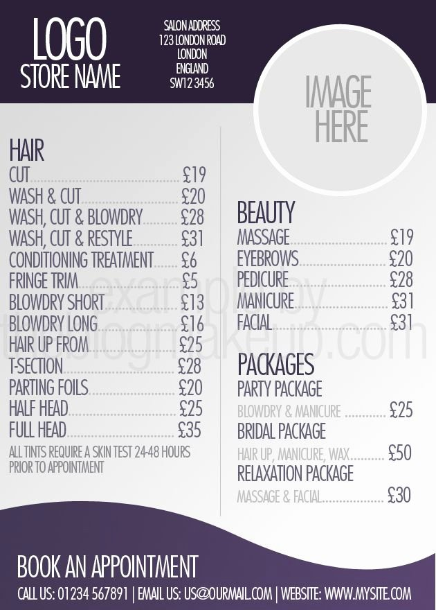 Beautifully Designed Menus and Price Lists for Salons