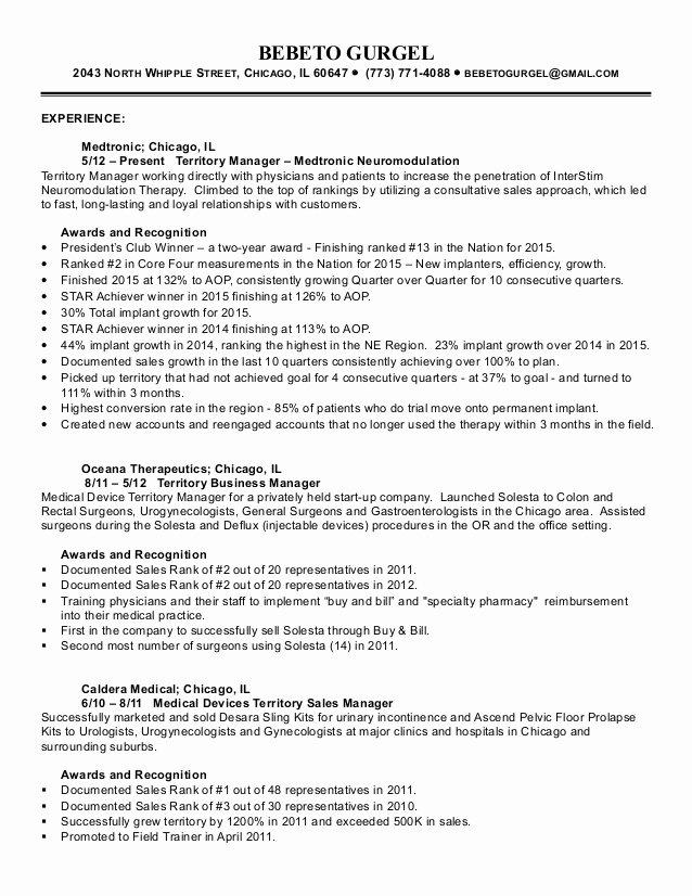 Bebeto Gurgel Medical Device Sales Resume
