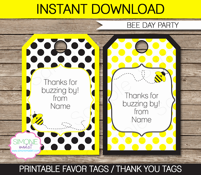 Bee Party Favor Tags Template