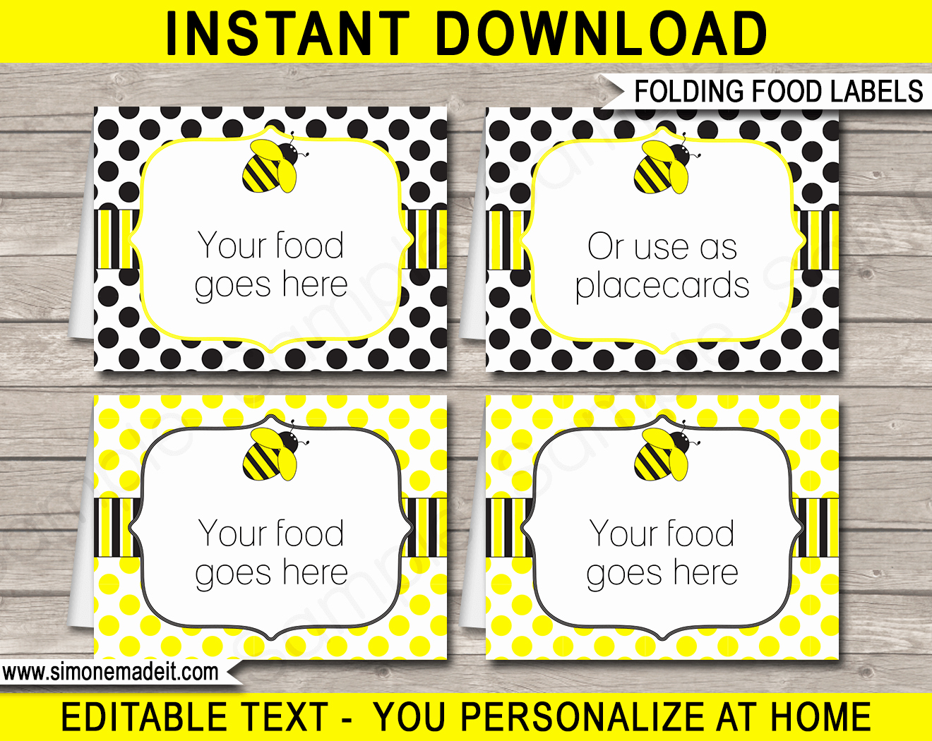 Bee Party Food Labels Place Cards