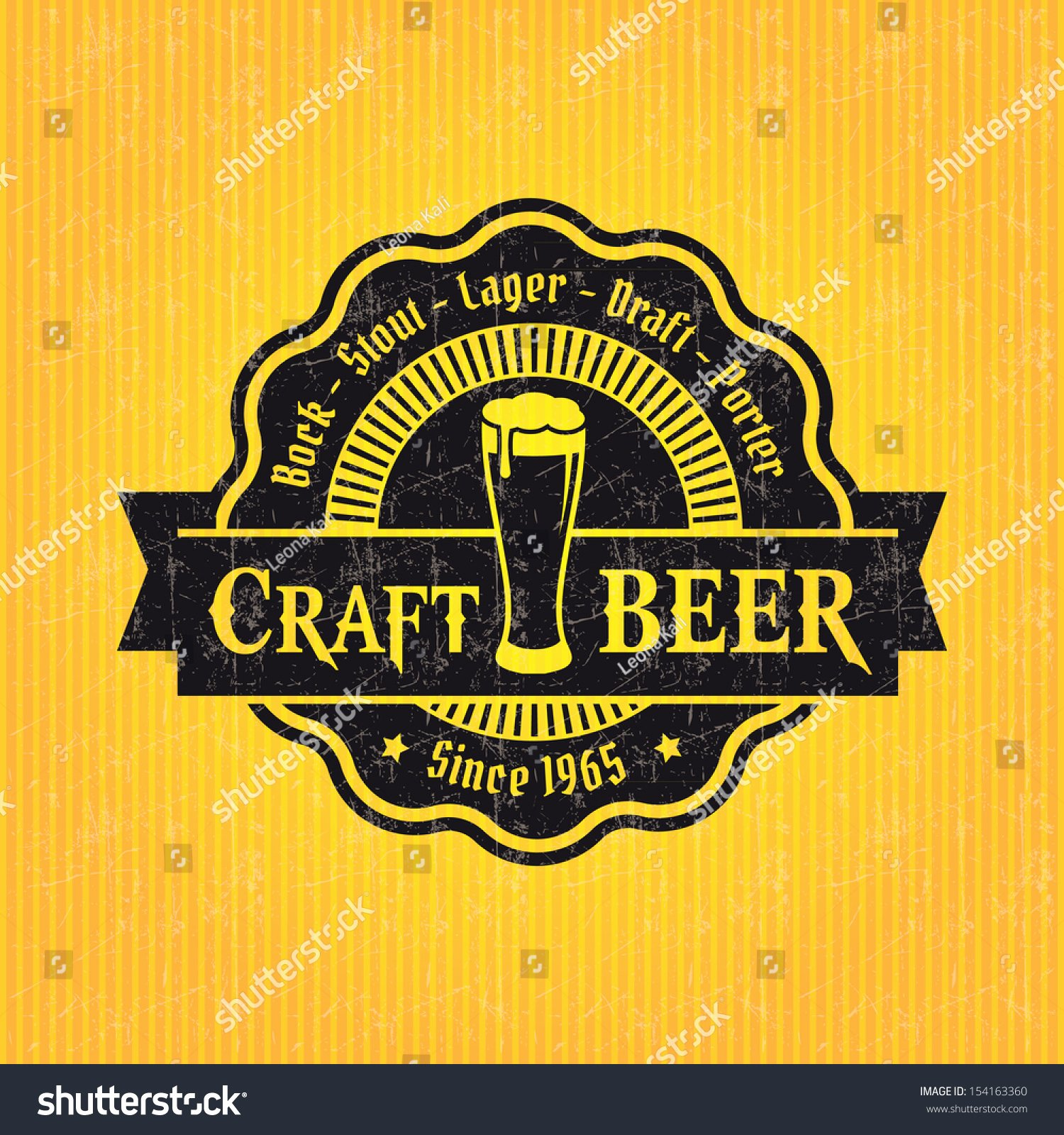 Beer Label Design Template Stock Vector
