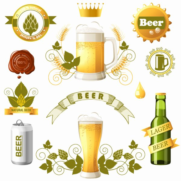 Beer Label Logo Design Templates Vector Logo Free Vector