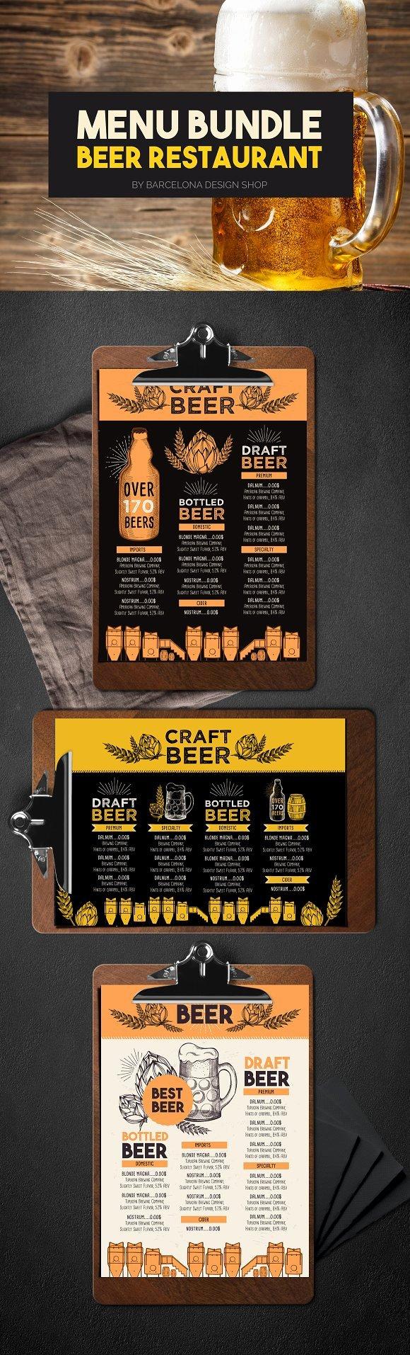 Beer Menu Bundle Brochure Templates Creative Market