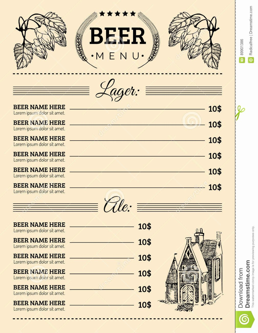 Beer Menu Design Template Vector Pub Restaurant Card with