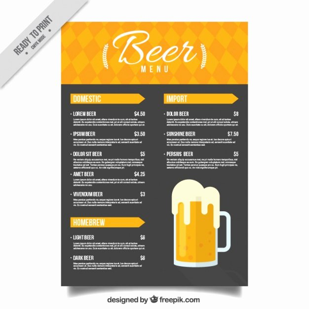 Beer Menu In Yellow and Black tones Vector