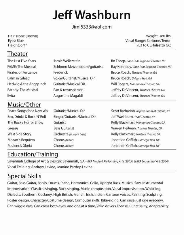 Beginner Acting Resume Best Resume Collection