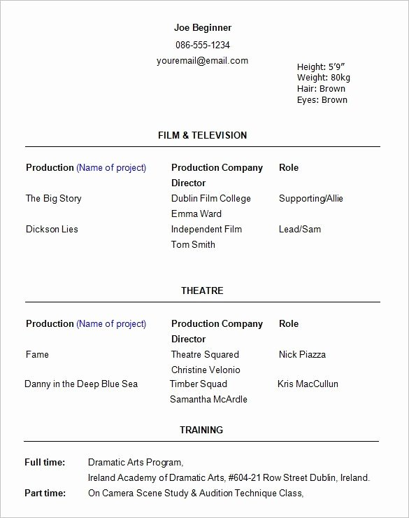 Beginner Actor Resume Best Resume Collection