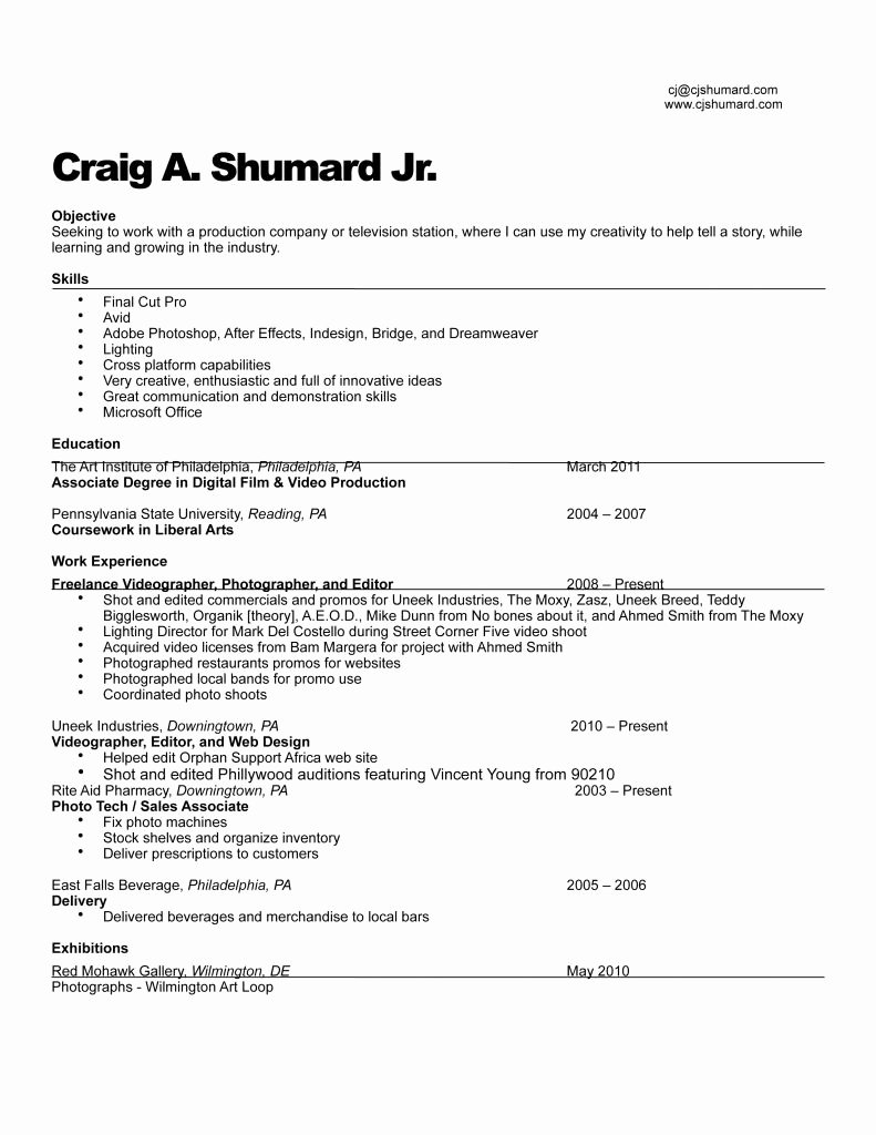 Beginner Production assistant Resume