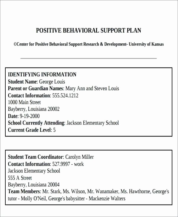 Behavior Intervention Plan Template Example Adhd