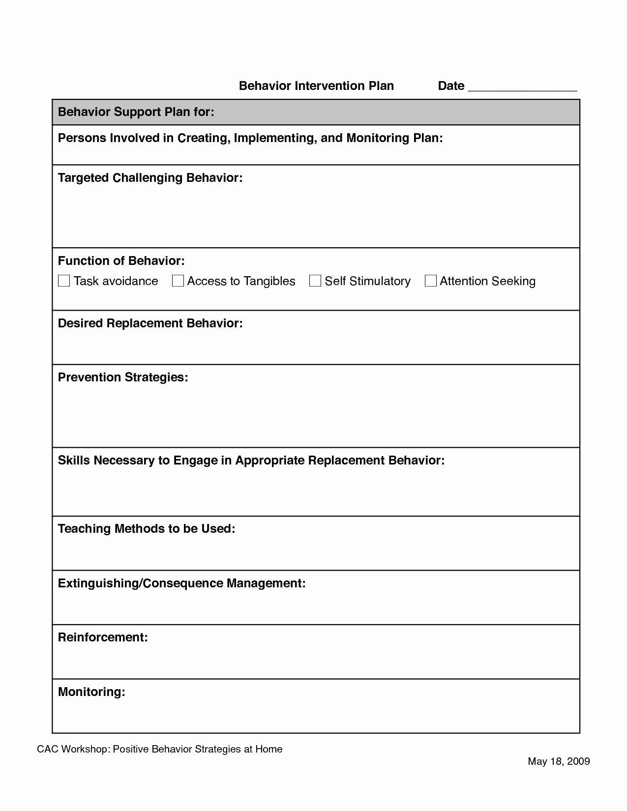 Behavior Intervention Plan Template