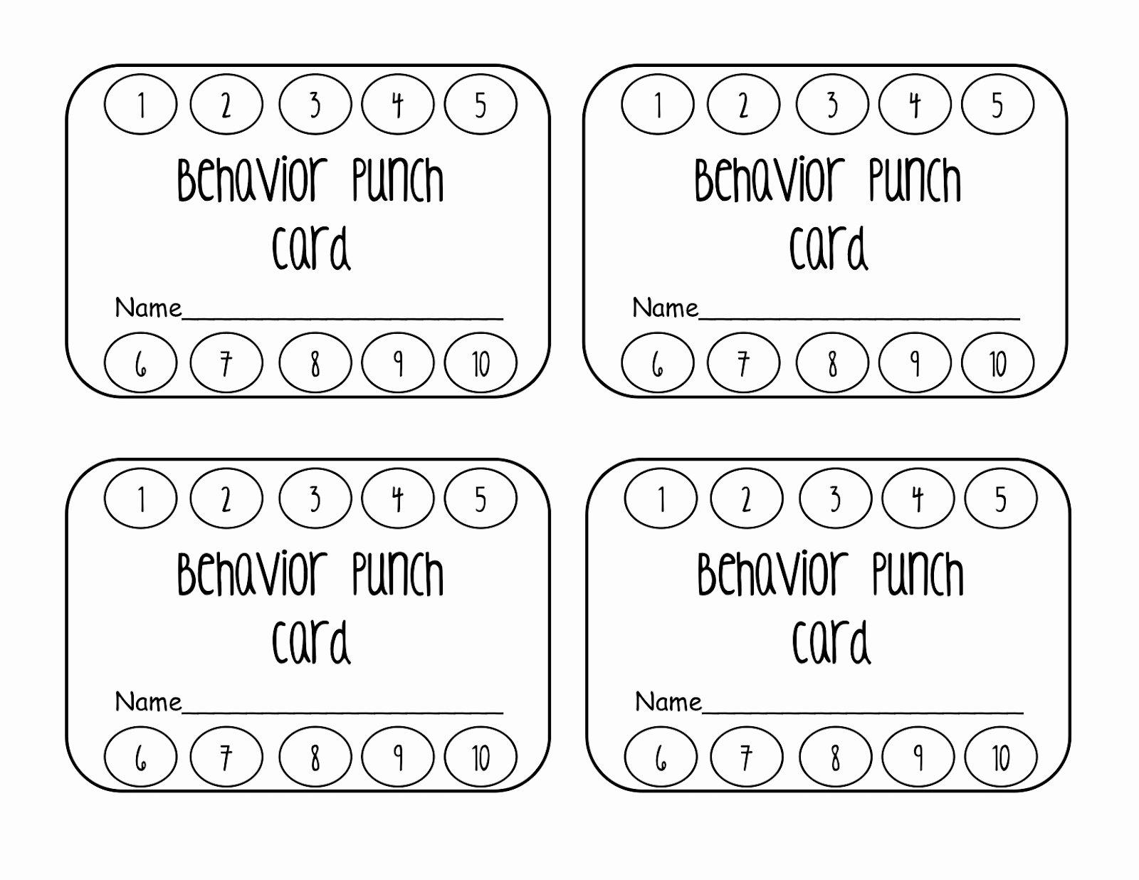 Behavior Punch Card Classroom Freebies