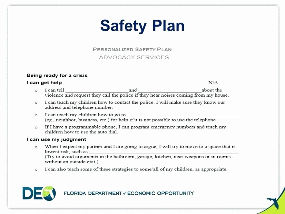 Behavior Self Harm Safety Plan Template within
