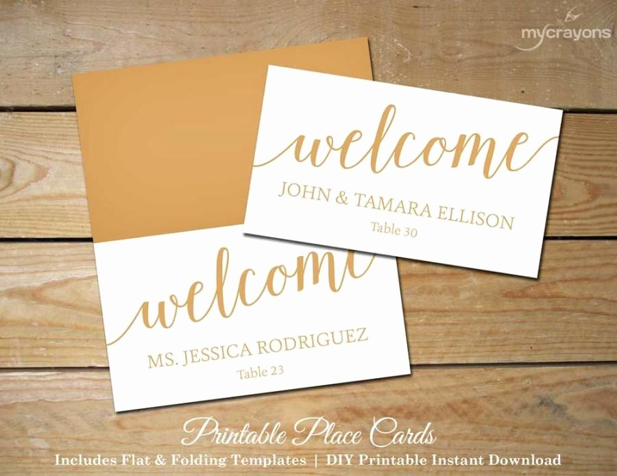 Bella Script Wedding Place Cards Gold Printable