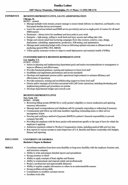 benefits representative resume sample