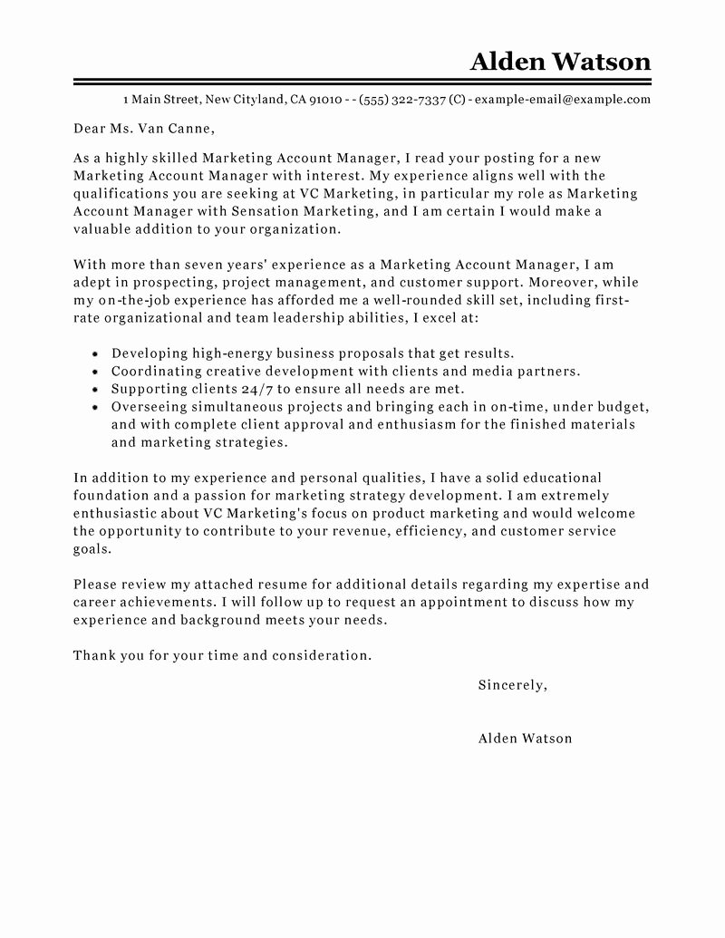 Best Account Manager Cover Letter Examples