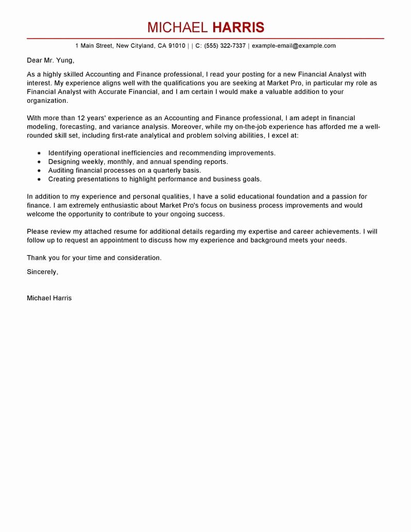 Best Accounting & Finance Cover Letter Examples