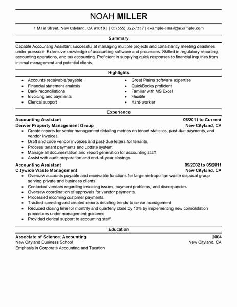 Best Accounting assistant Resume Example