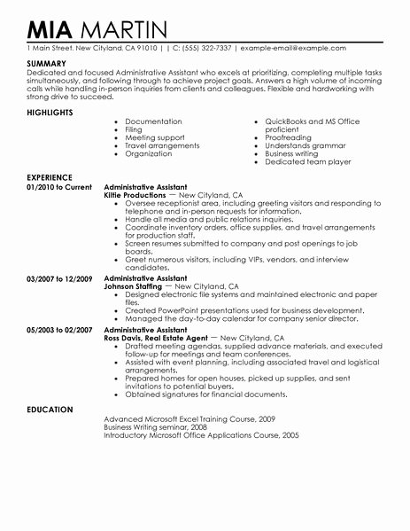 Best Administrative assistant Resume Example