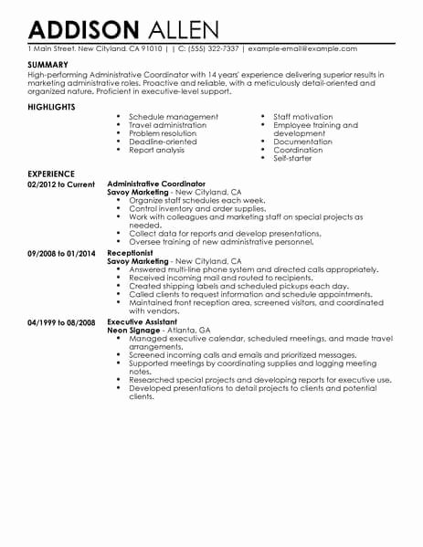 Best Administrative Coordinator Resume Example