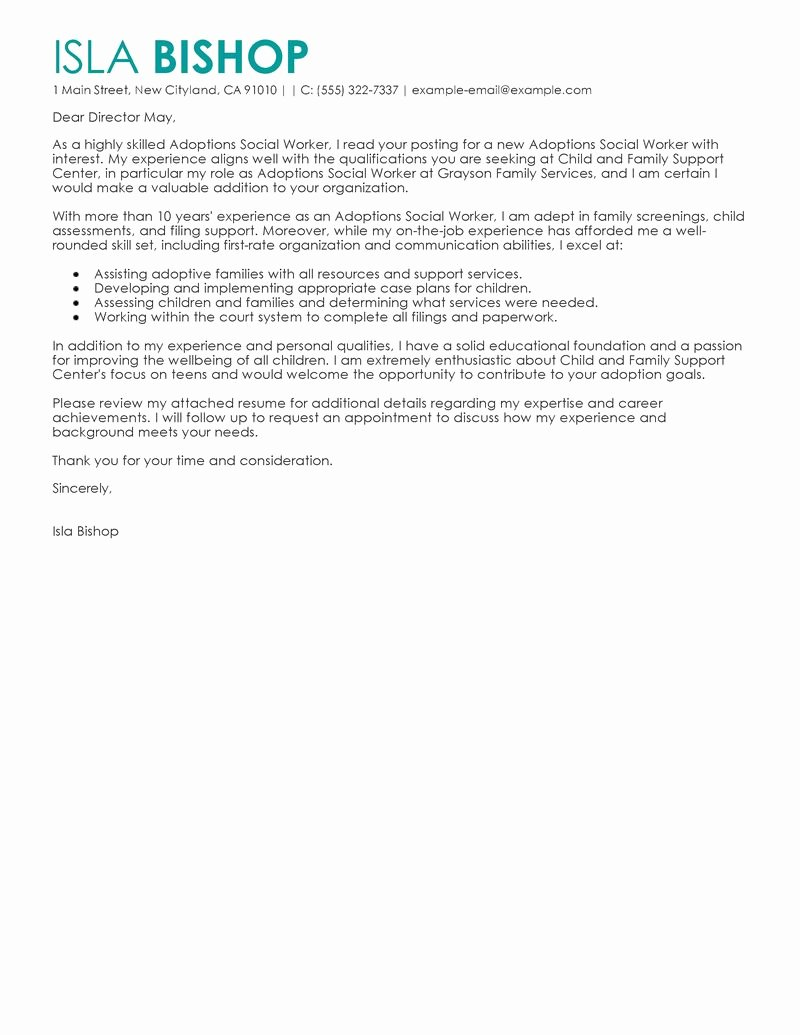 Best Adoptions social Worker Cover Letter Examples