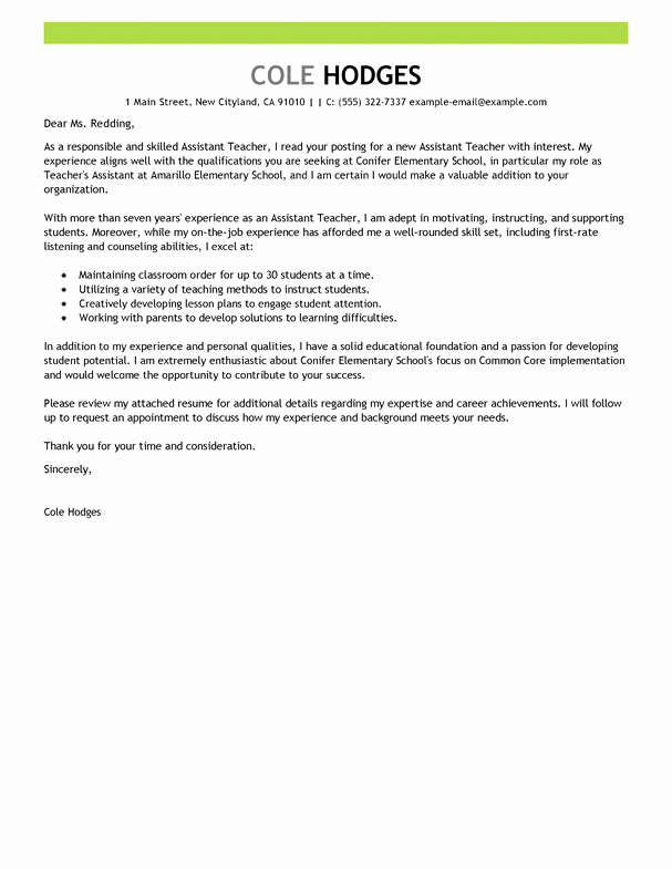 Best assistant Teacher Cover Letter Examples