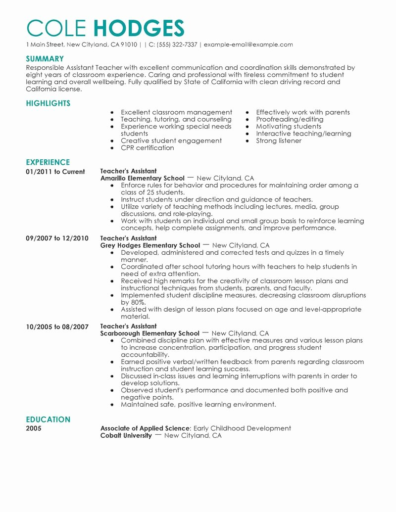 Best assistant Teacher Resume Example