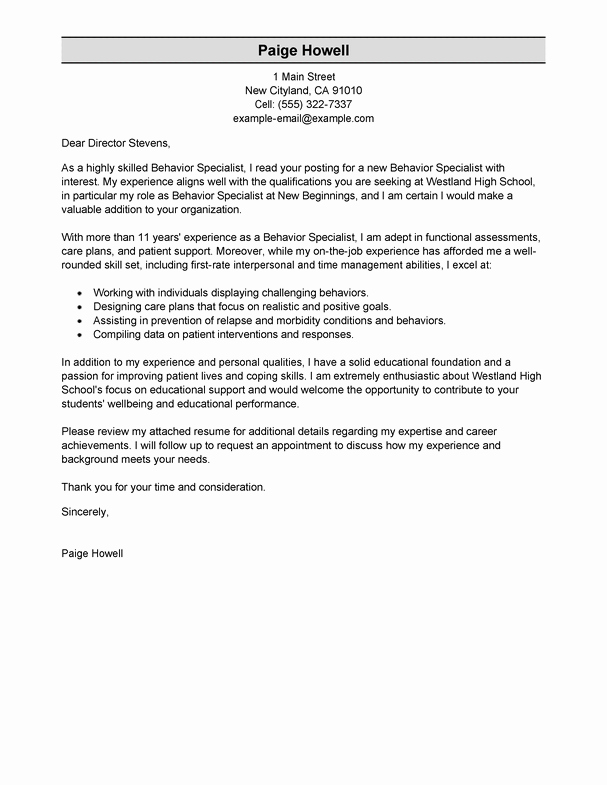 Best Behavior Specialist Cover Letter Examples