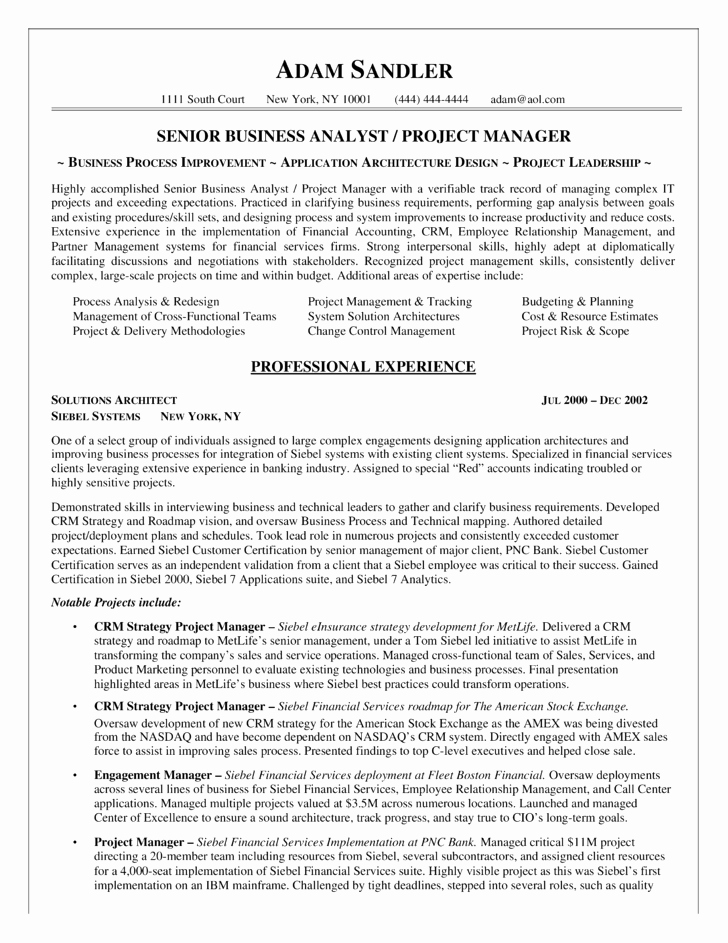 Best Business Analyst Resume Example Template Latter