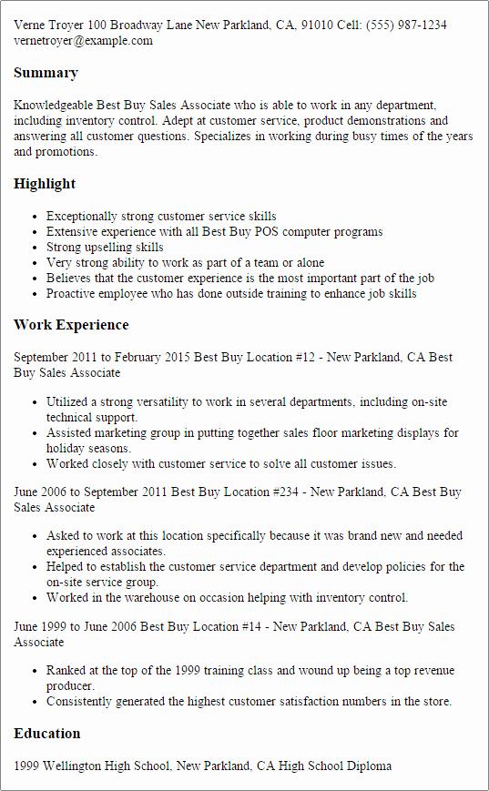 Best Buy Sales associate Resume Template — Best Design