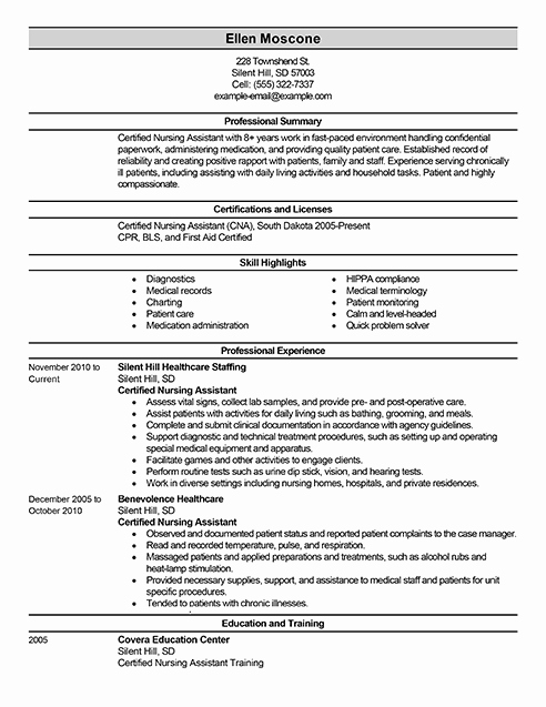 Best Certified Nursing assistant Resume Example