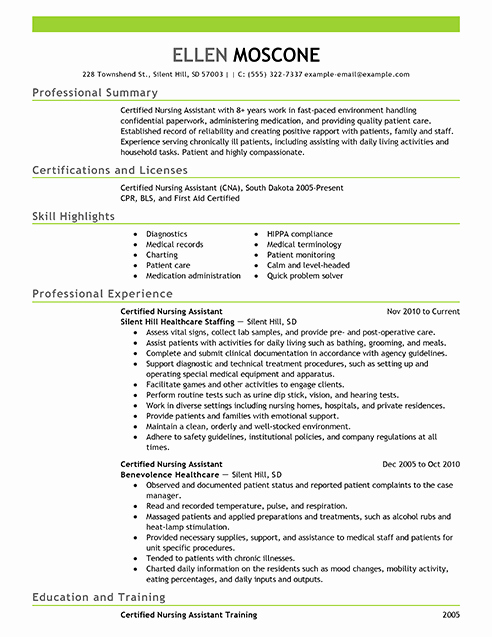 Best Certified Nursing assistant Resume Example