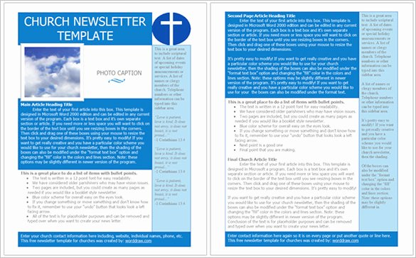 Best Church Newsletter Template 10 Free Sample Example